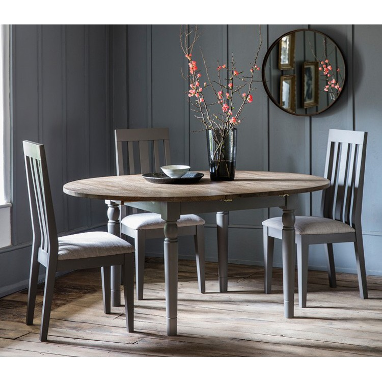 round extending dining room table and chairs