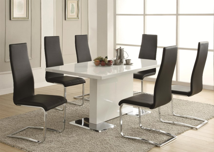modern white dining room table