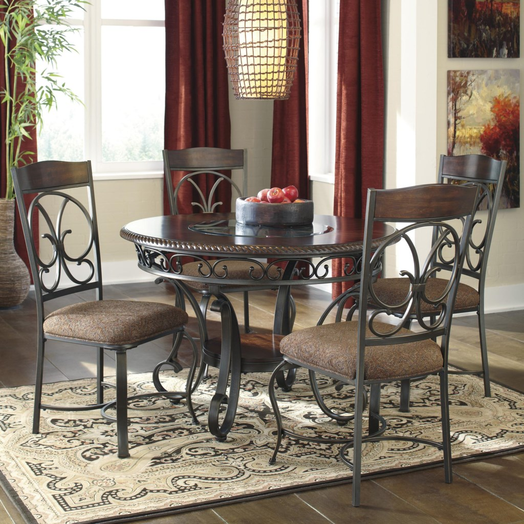 Signature Design By Ashley Glambrey Round Dining Table And 4 Chair Set With Metal Accents Wayside Furniture Dining 5 Piece Set