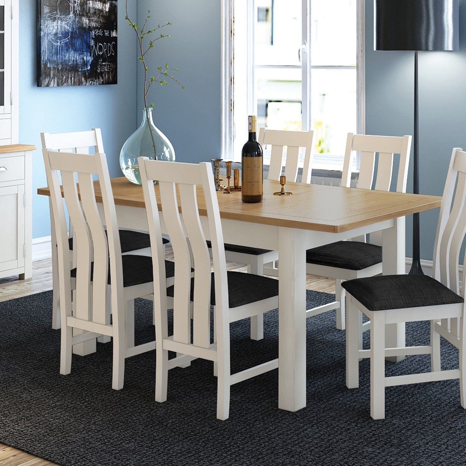 white dining table 6 chairs