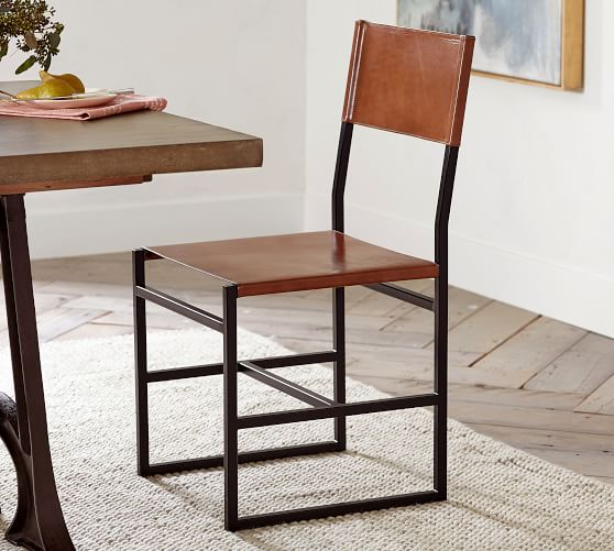 pottery barn leather dining chair