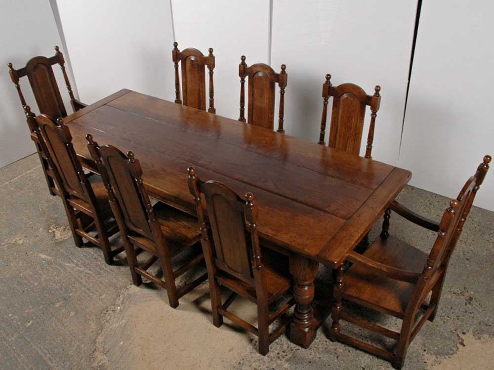 english oak dining table and chairs