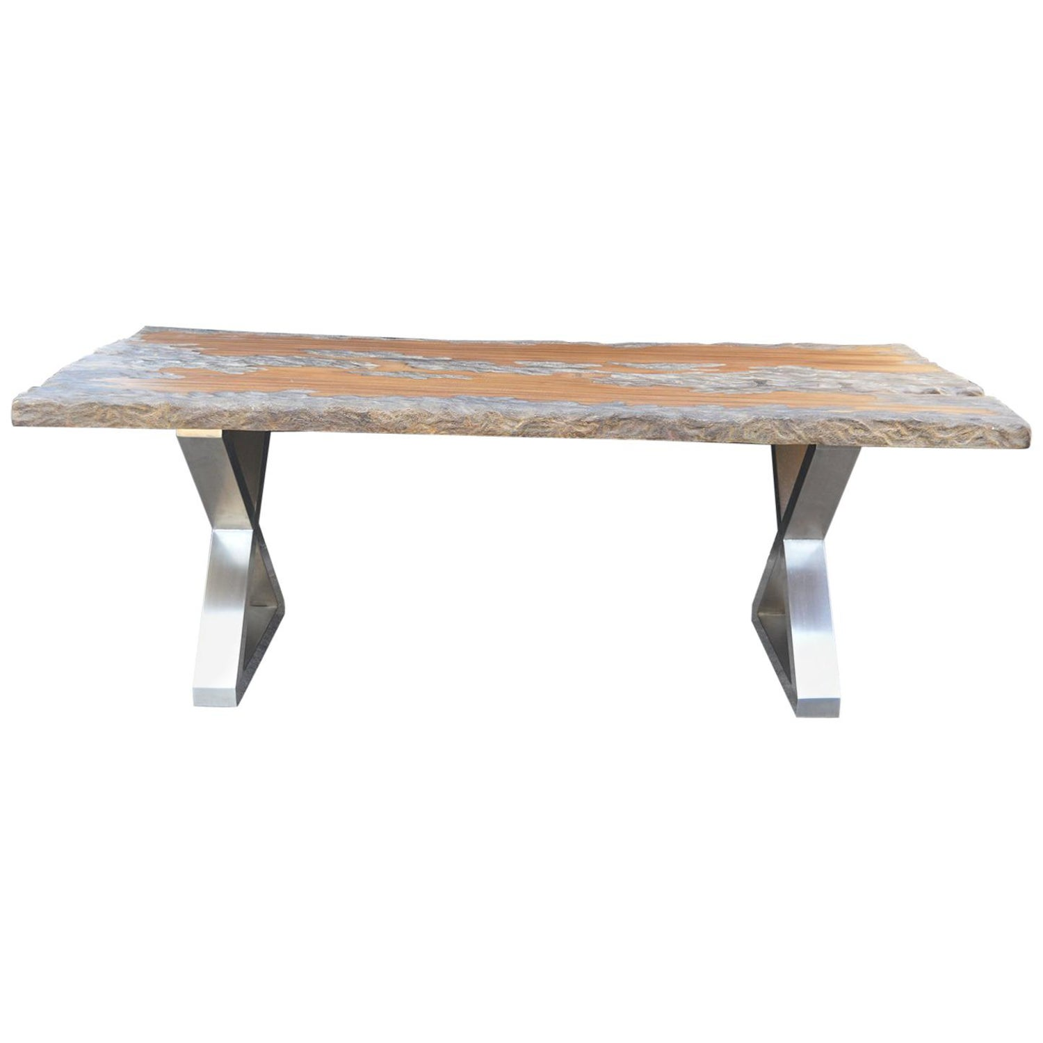 wood dining table with chrome legs