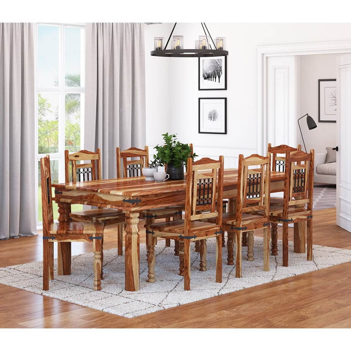 Dallas Classic Solid Wood Rustic Dining Room Table And Chair Set