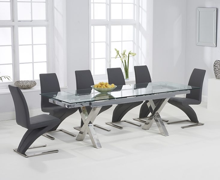 extendable glass dining table and 6 chairs