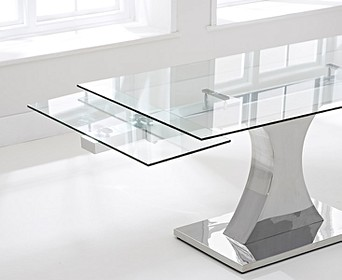 extended glass dining table