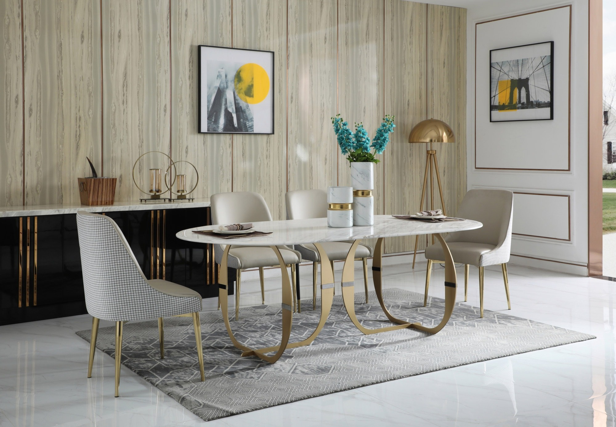 contemporary marble dining table