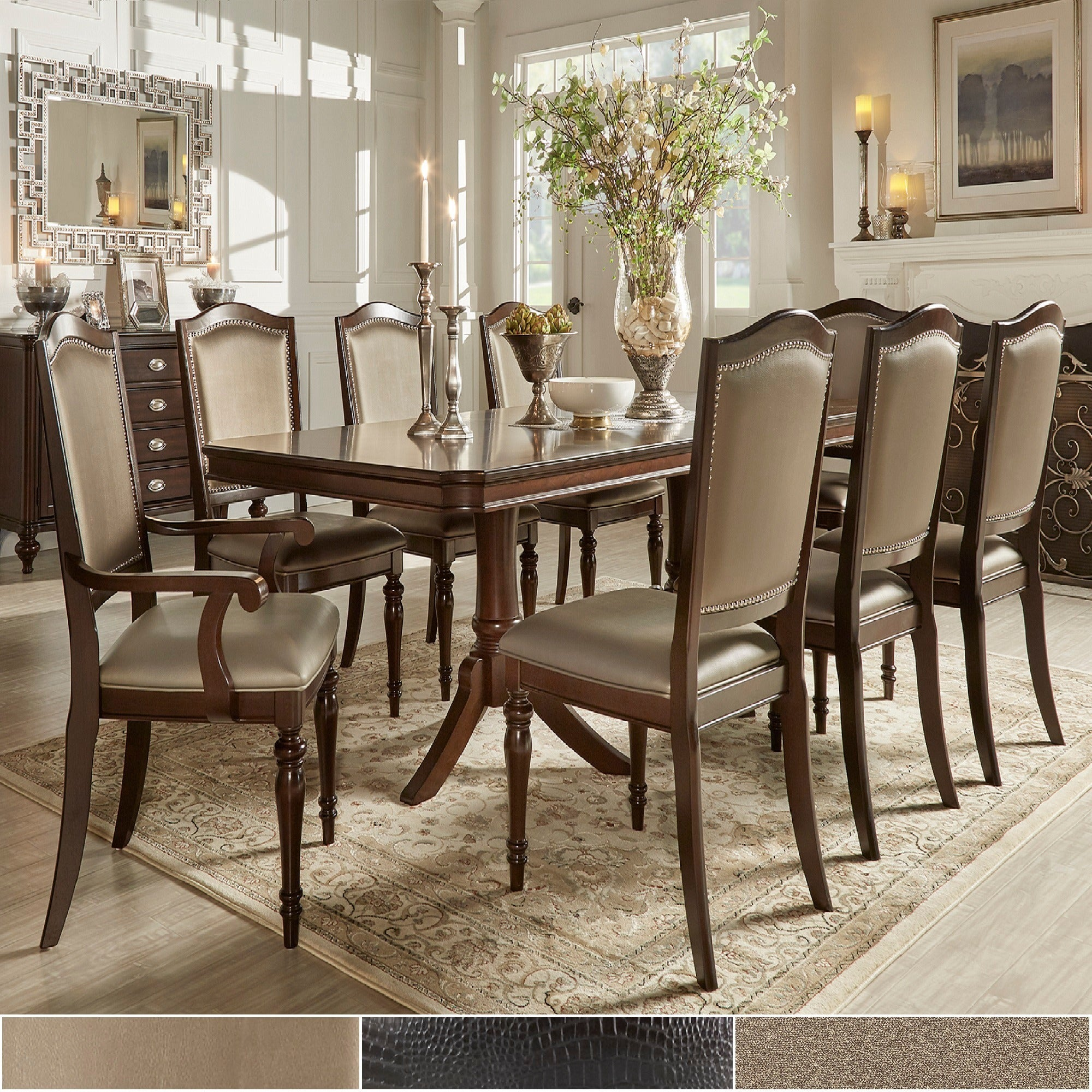 Lasalle Espresso Nail Head Accent Transitional Dining Side Chairs Set Of 2 By Inspire Q Classic Overstock 8753790