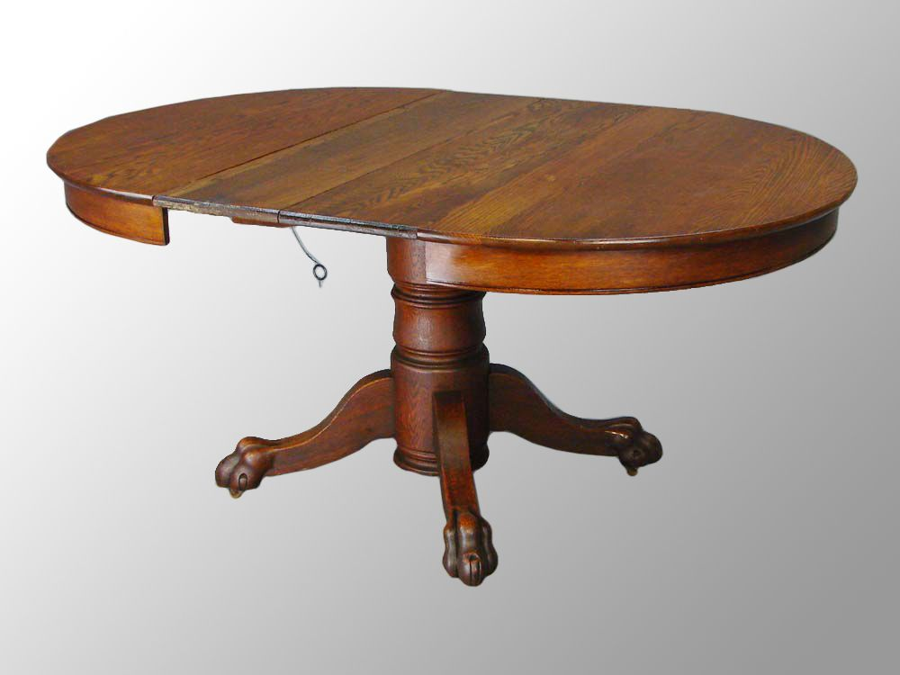 antique round dining table with leaves