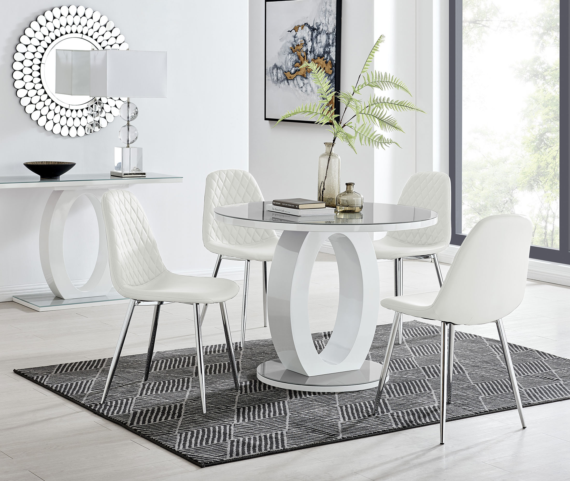 white round dining table for 4