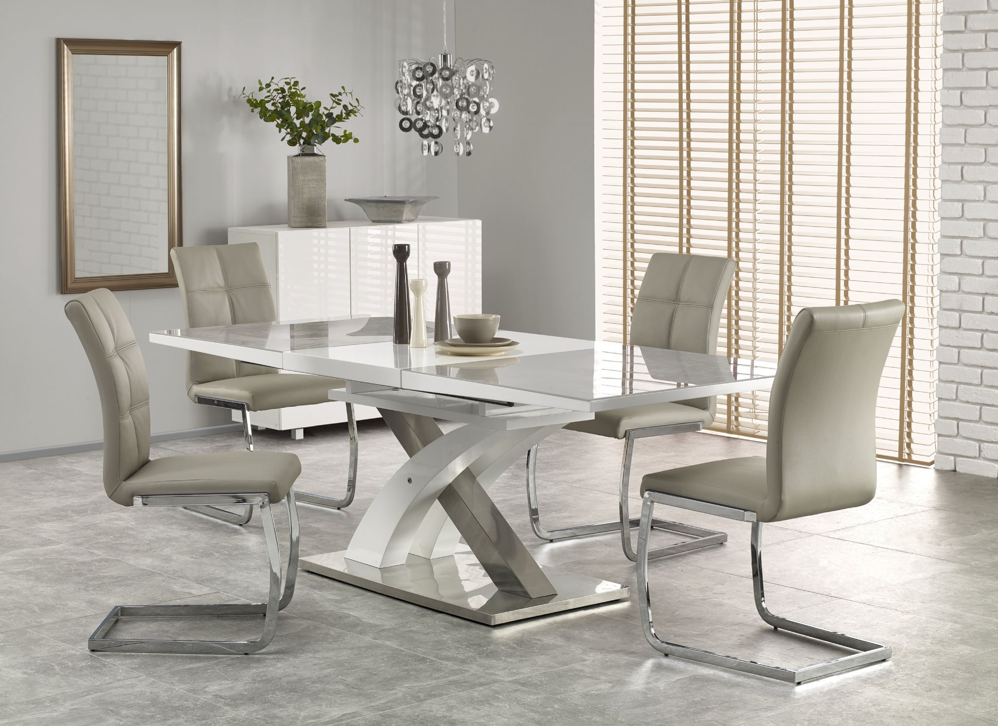 modern white gloss dining table with stainless steel base