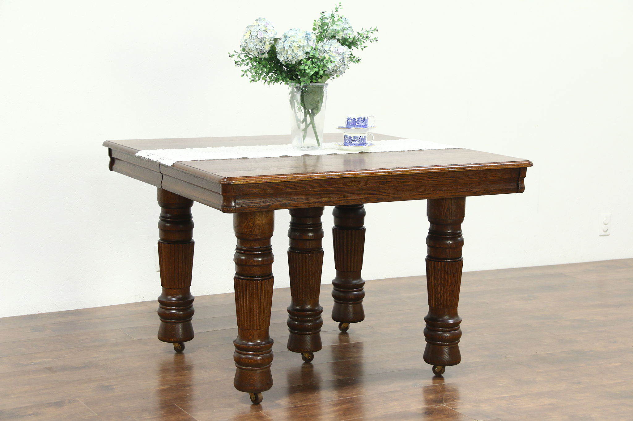 square oak dining table for 8
