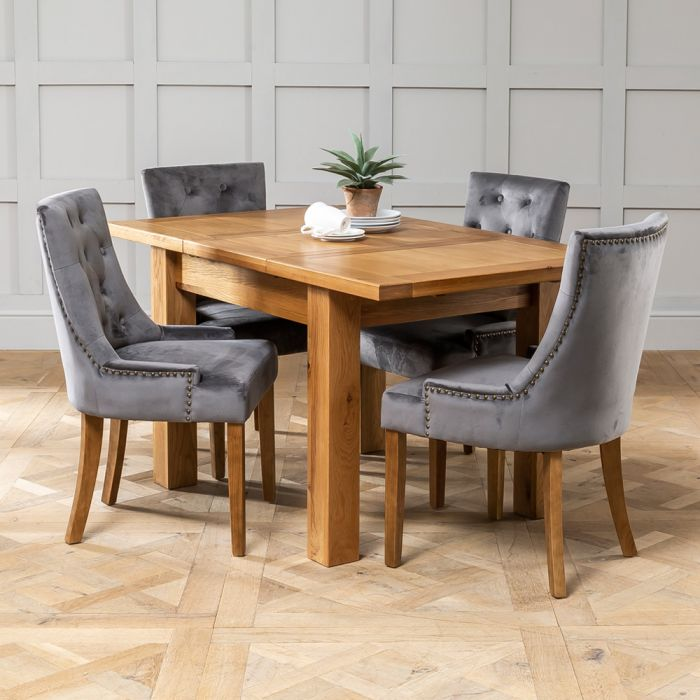 Solid Oak Small Extending Table 4 X Storm Grey Scoop Chairs The Furniture Market