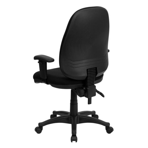 black swivel office chair with arms