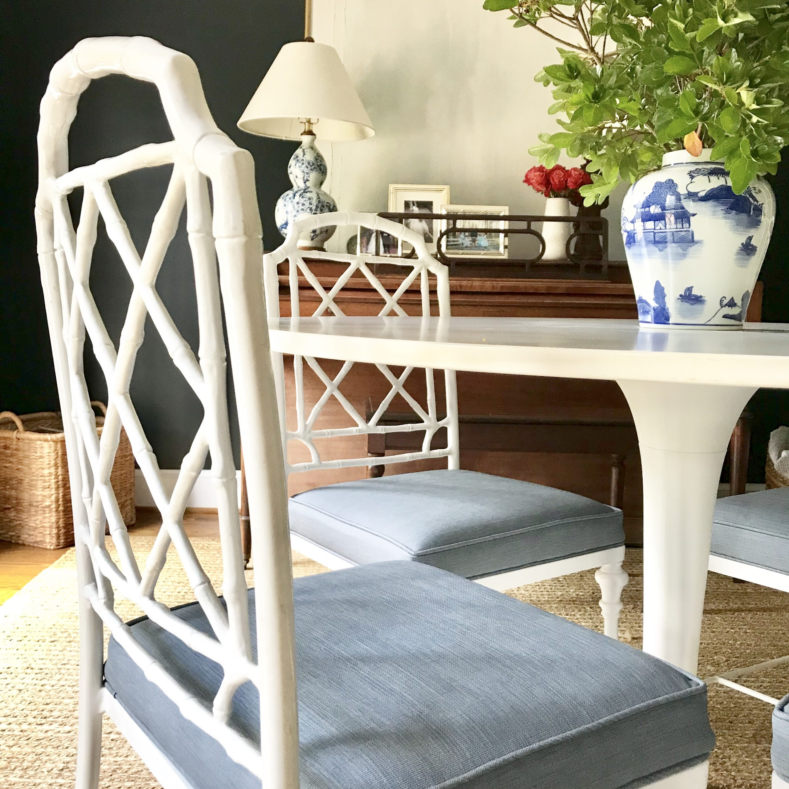 faux bamboo dining chairs
