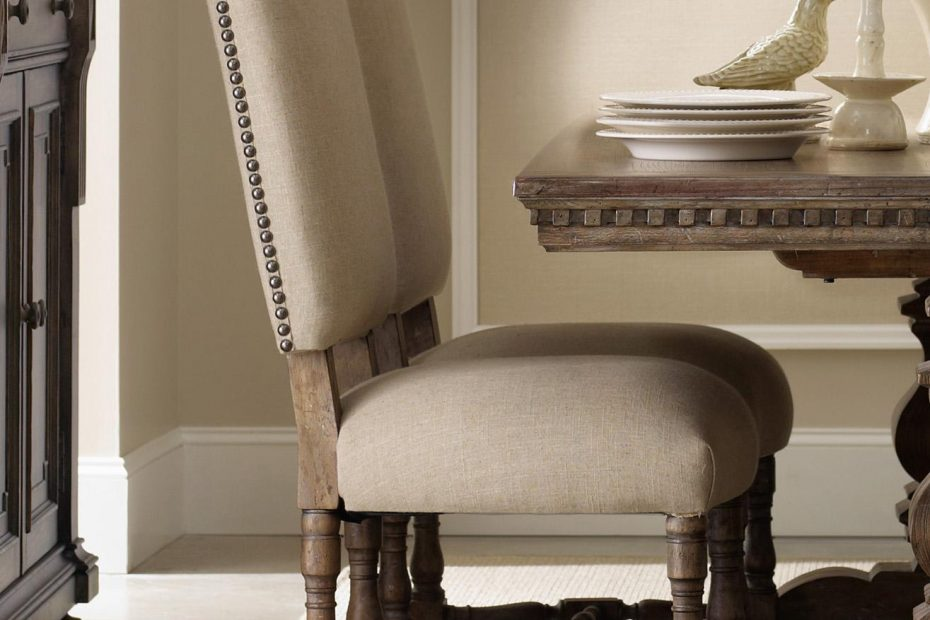 tufted dining chairs with nailheads