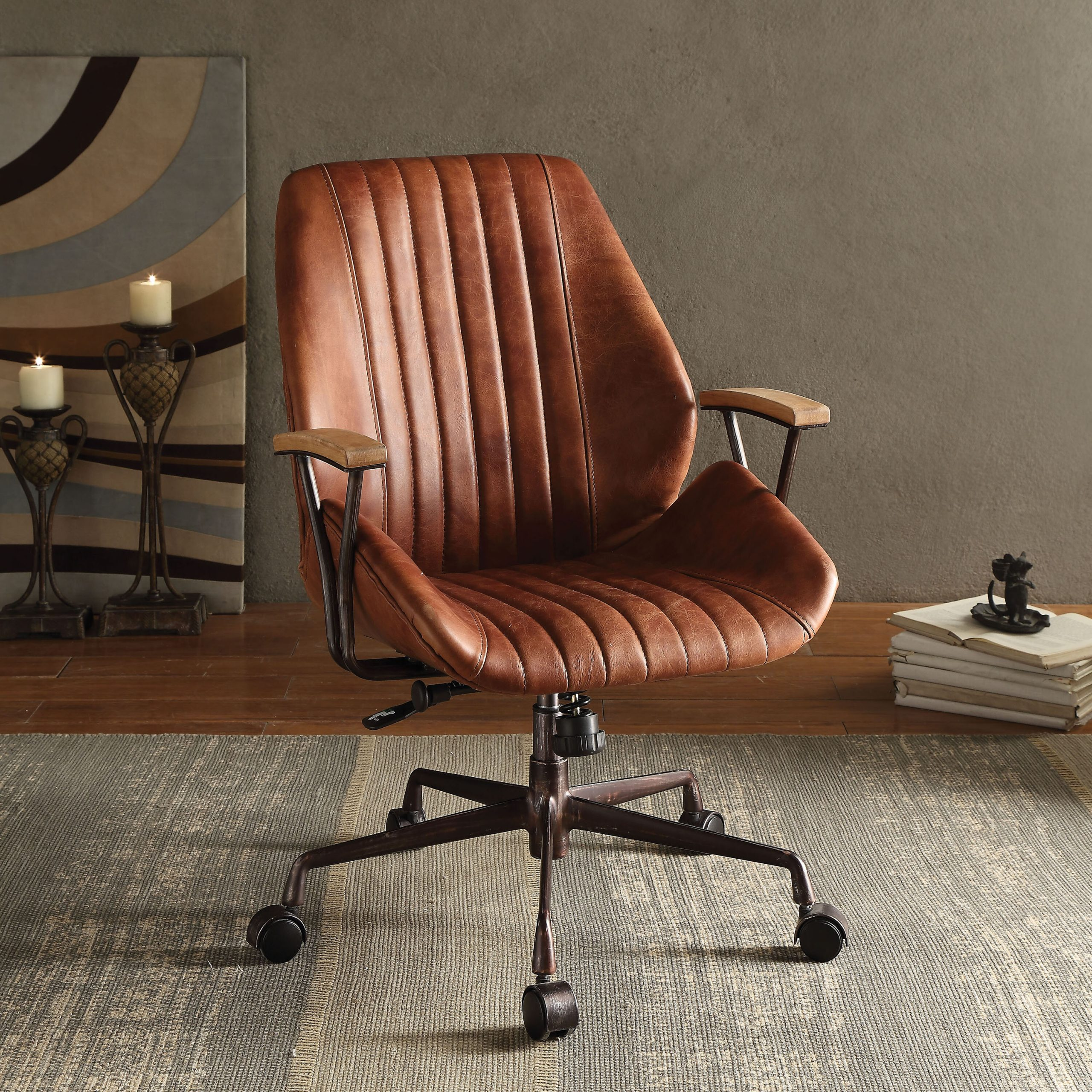 distressed leather office chair