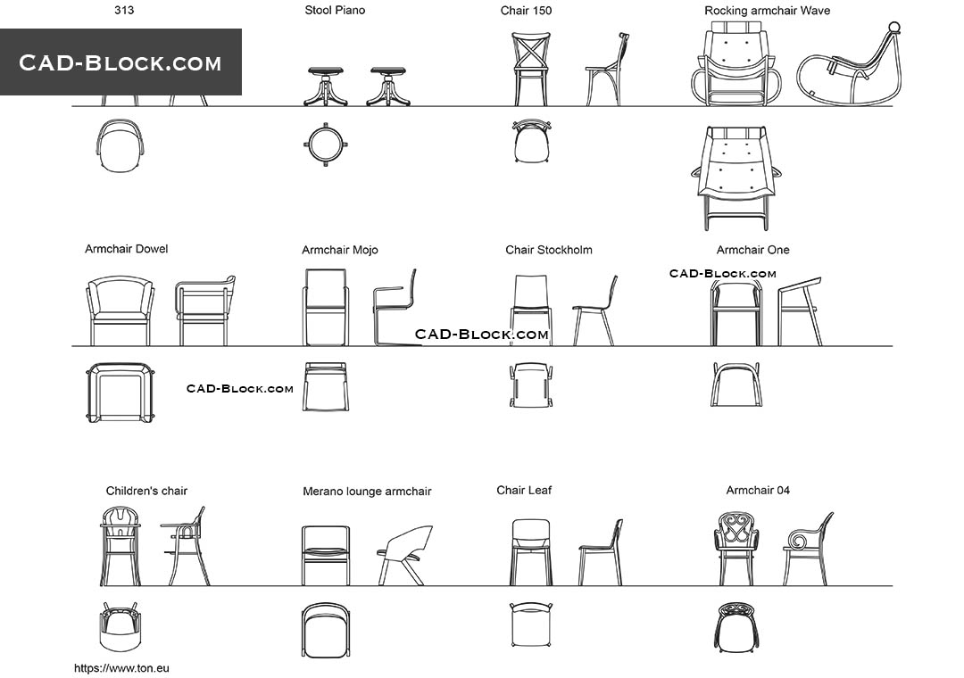 office chair cad block