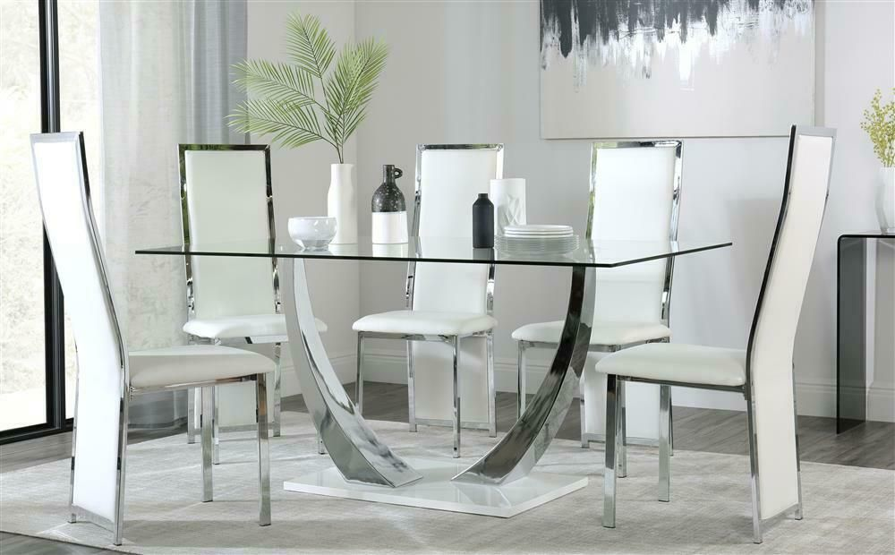 glass dining table white chairs