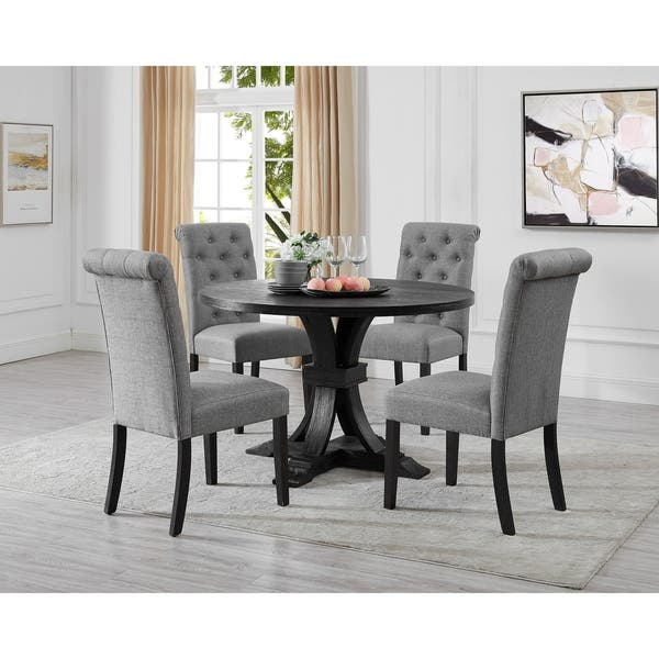 Siena Distressed Black Finish 5 Piece Dining Set Pedestal Round Table With 4 Chairs Overstock 30619142