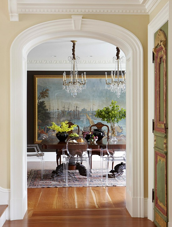 antique dining room table with modern chairs