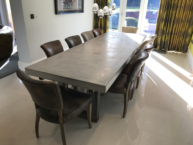 polished concrete dining table and chairs