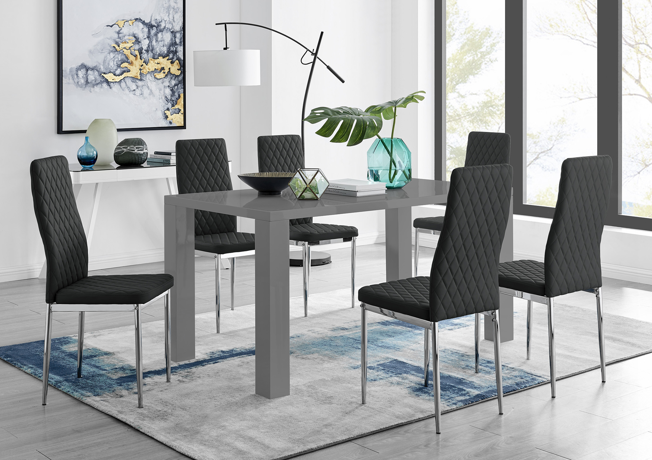 gloss dining table and 6 chairs