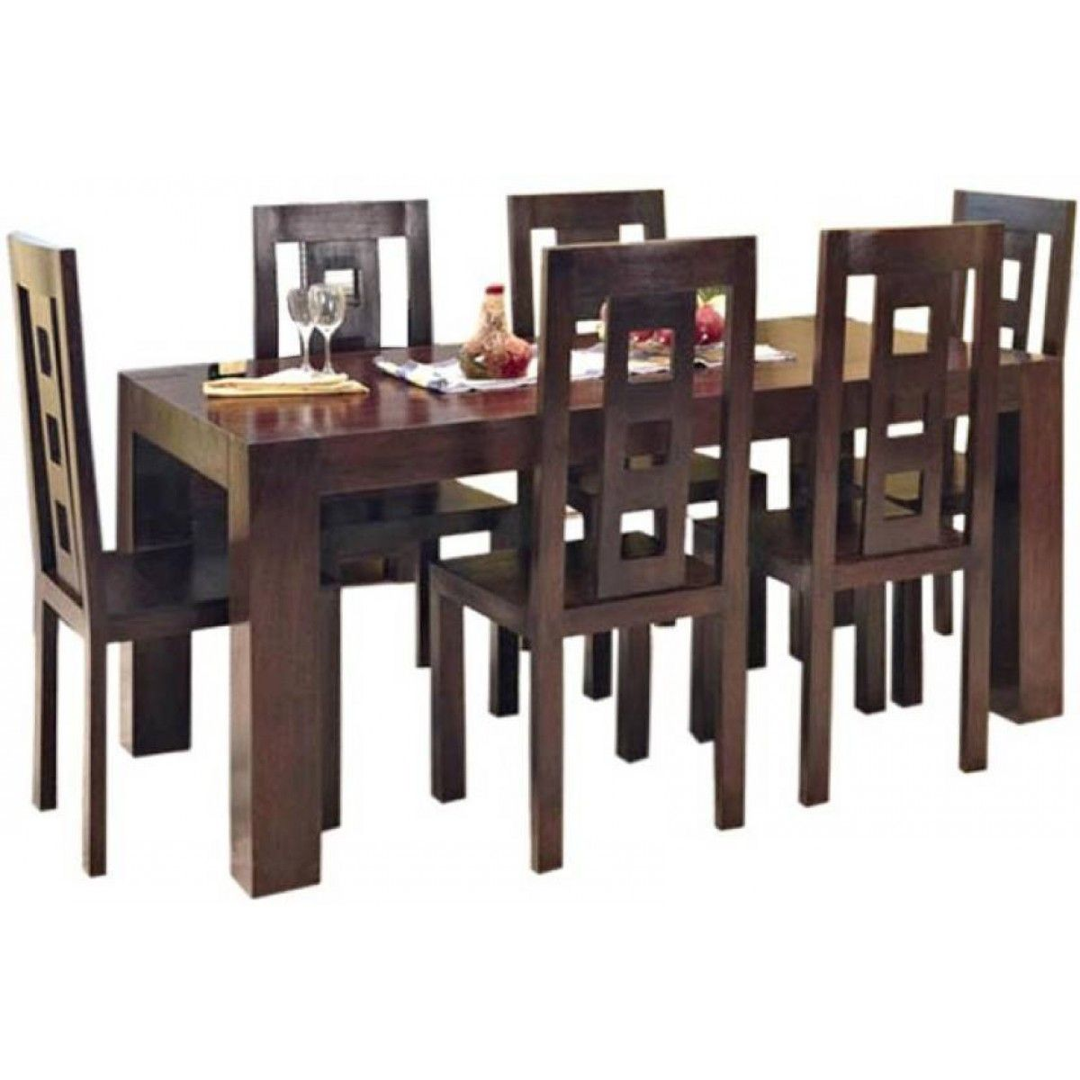 Six Seater Dining Table Online Walnut Brown Color Finishing Buy Online This Di Wooden Dining Table Designs Dining Table Design Modern 6 Seater Dining Table