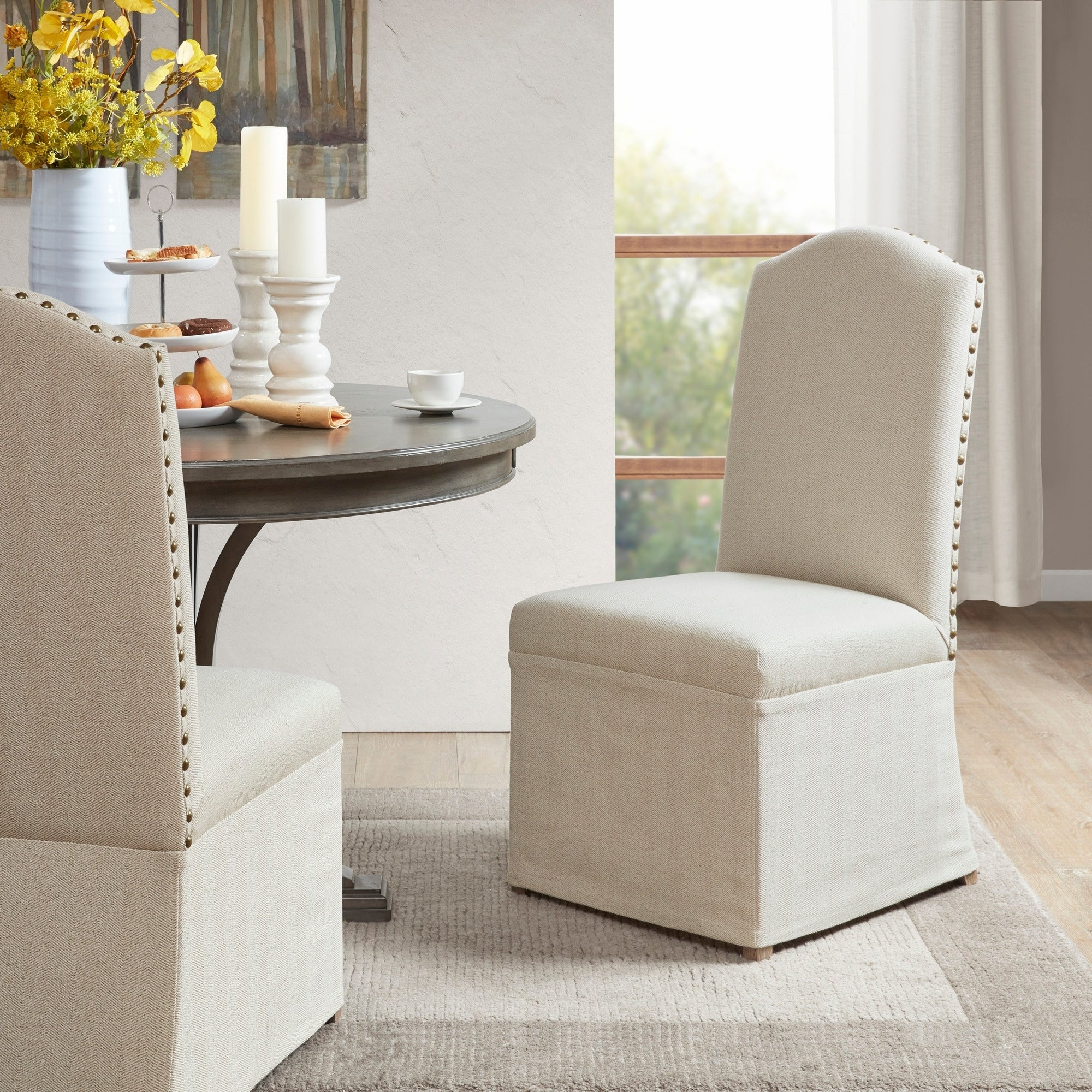 upholstered skirted dining chairs