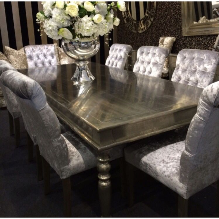 dining table with velvet chairs