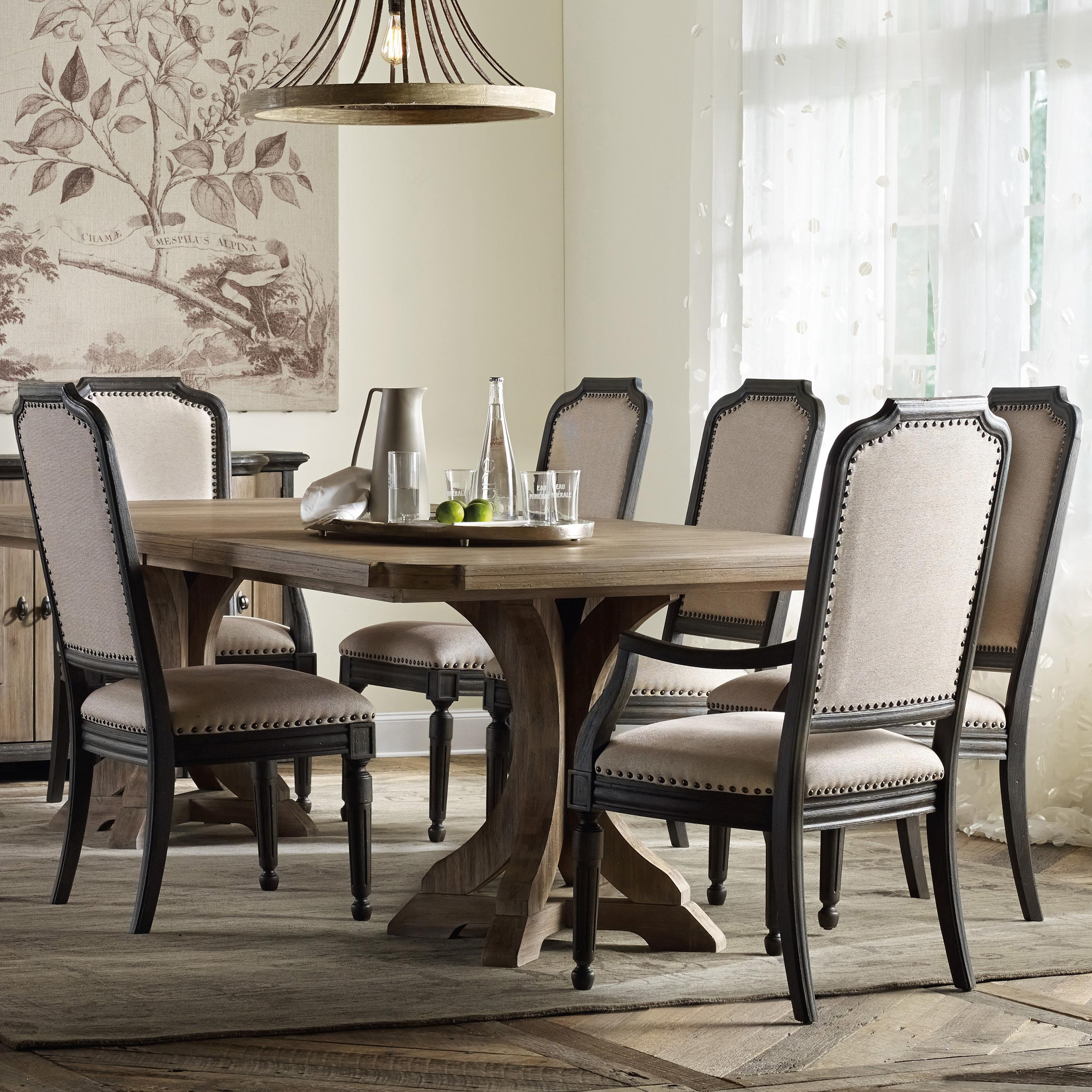 Hooker Furniture Corsica Rectangle Pedestal Dining Table Set With Upholstered Chairs Wayside Furniture Dining 7 Or More Piece Sets