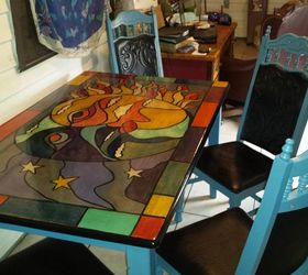 glass painting on dining table