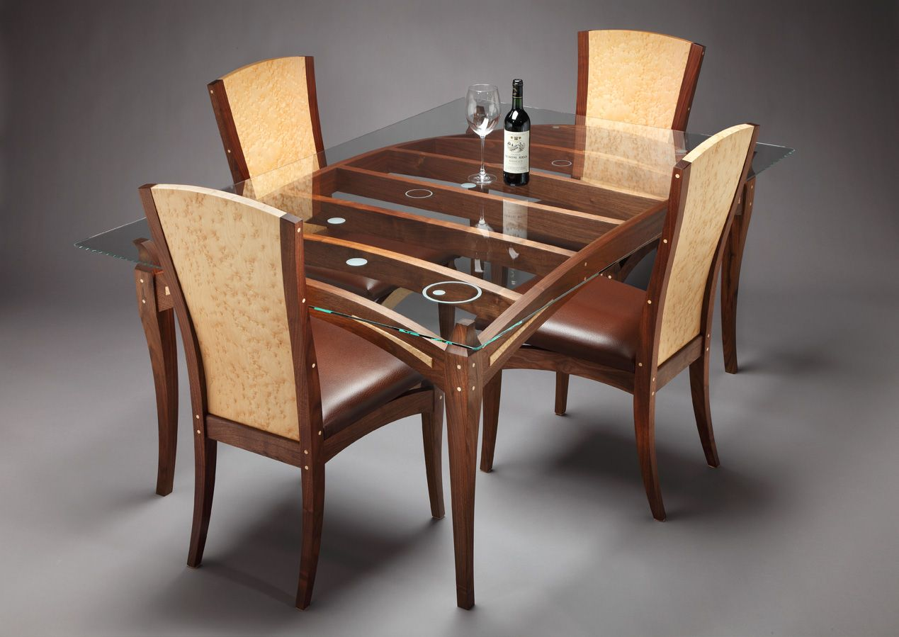wooden dining table designs with glass top in kerala