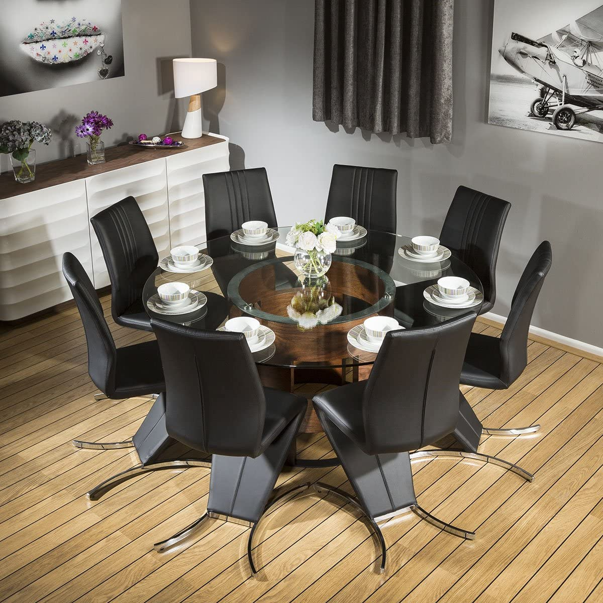 glass dining table set for 8
