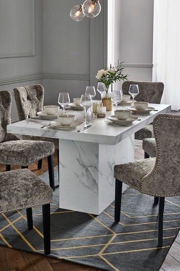marble effect dining table and chairs
