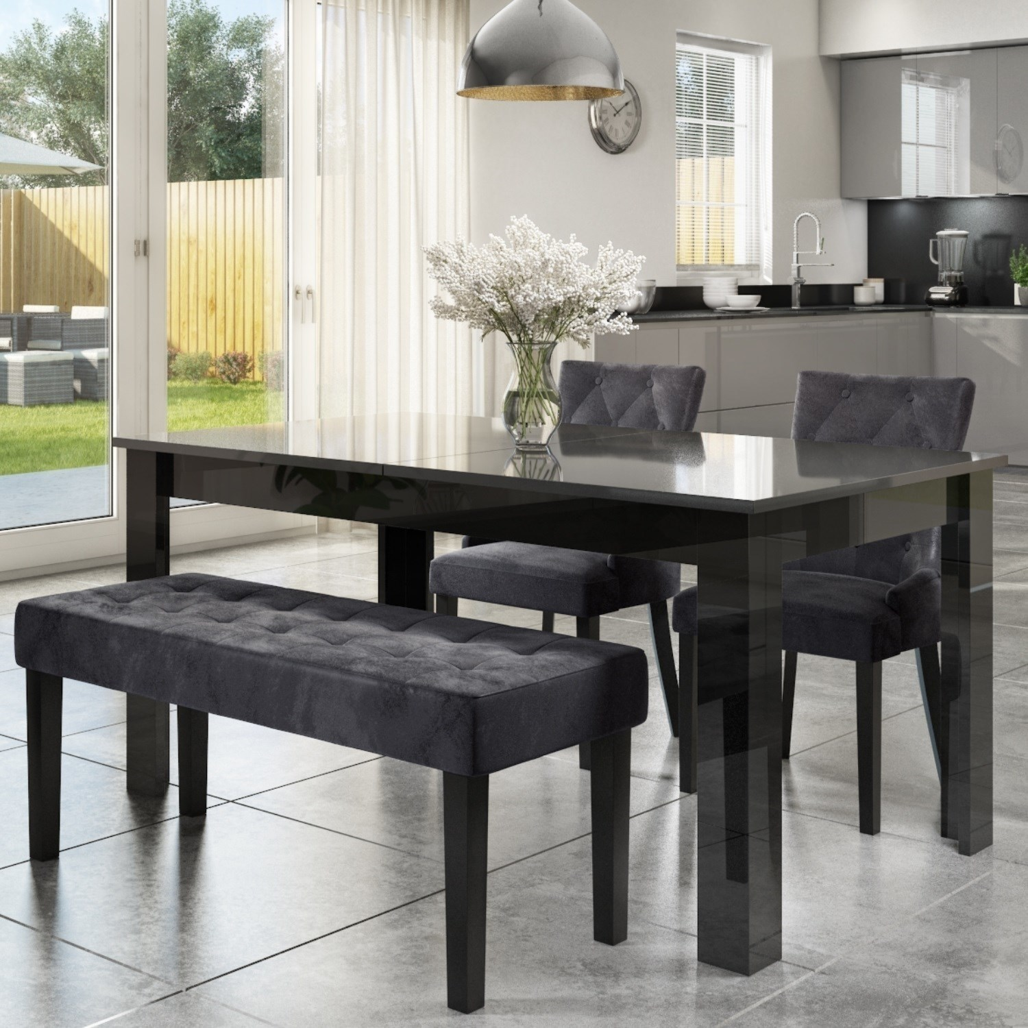 black and gray dining table