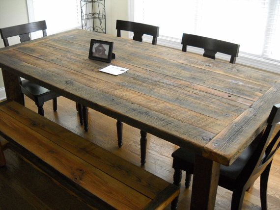 7 Harvest Farm Table And Bench Built From Reclaimed Barn Wood Gorgeous Rustic Kitchen Tables Kitchen Table Wood Farmhouse Kitchen Tables