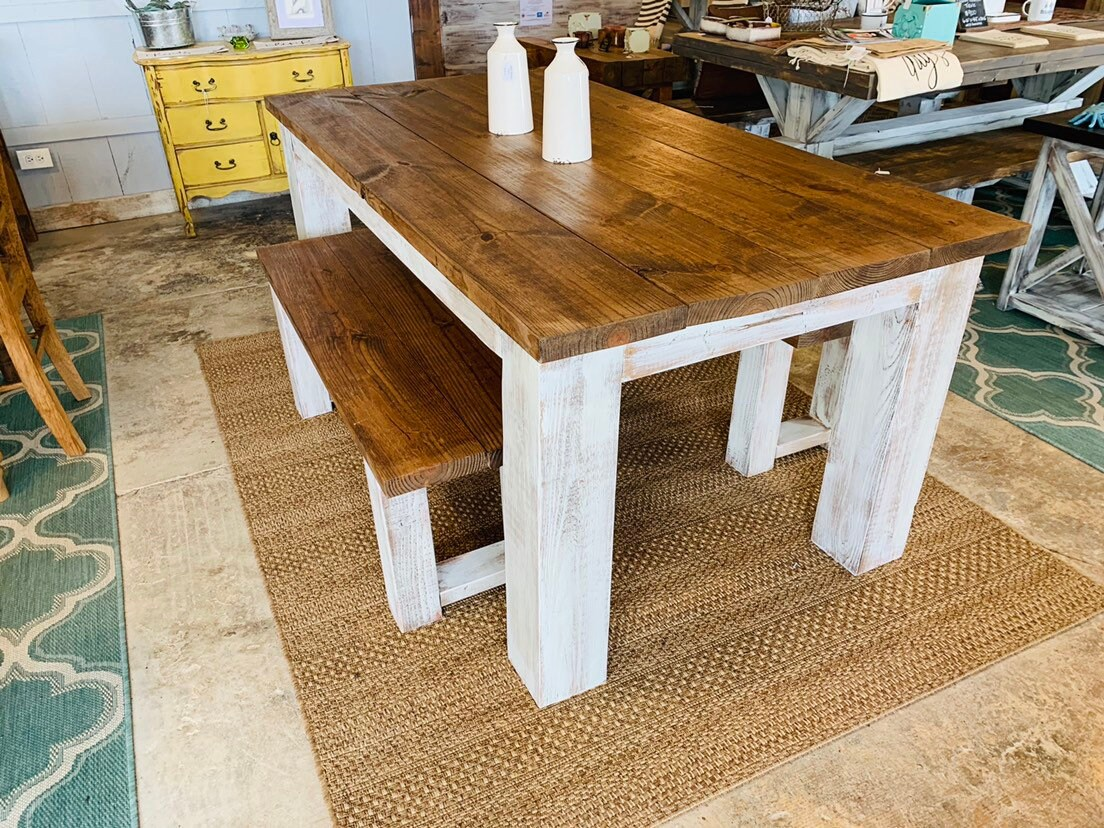 dining table white legs wood top