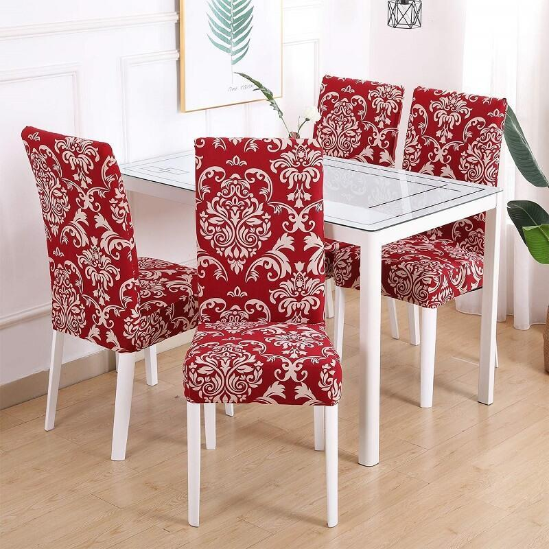 red dining chair covers