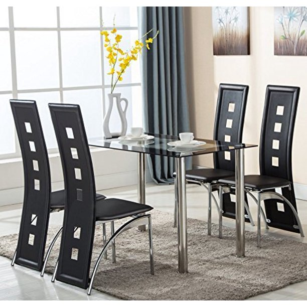 glass dining table and leather chairs