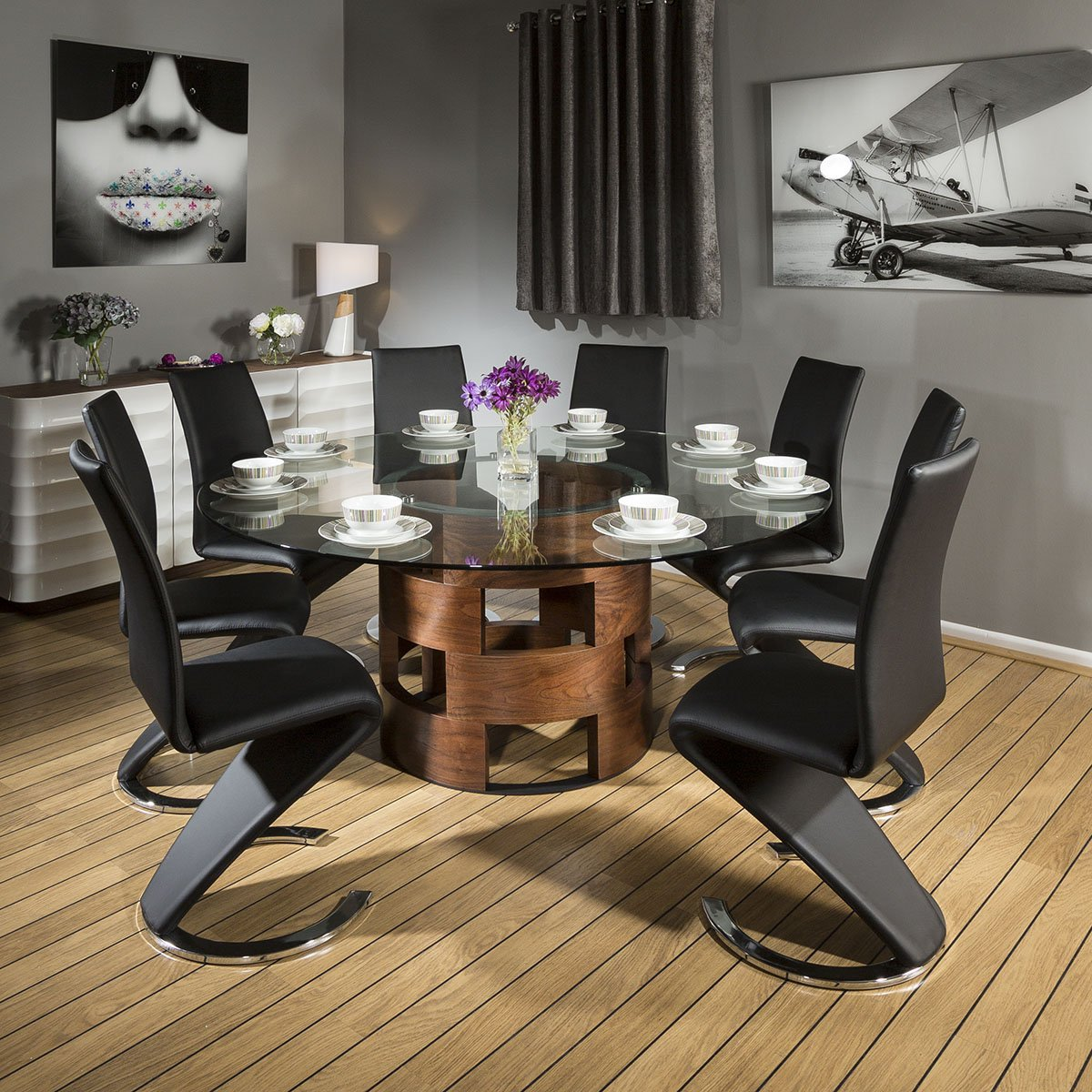 glass top dining table for 8