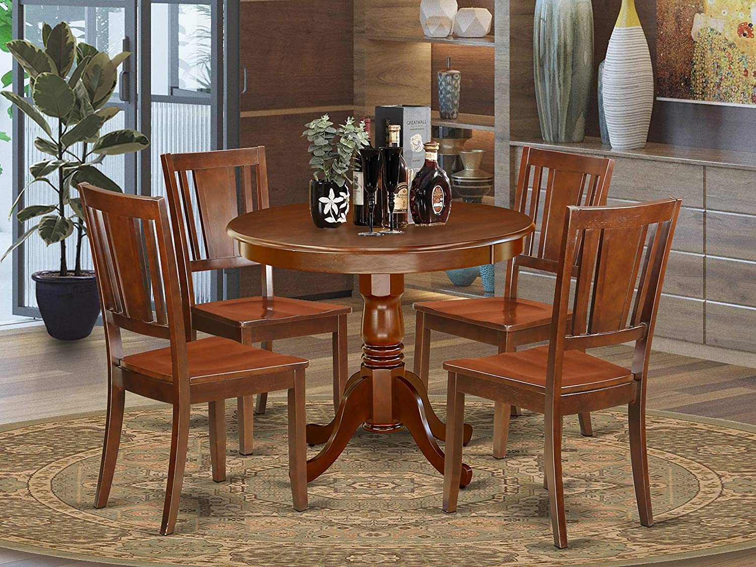 mahogany dining table with modern chairs