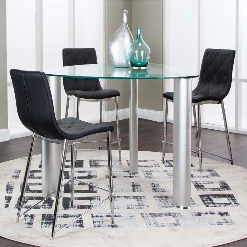 counter height round glass dining table set