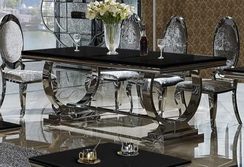 Amelie Baroque Style Glass Top Dining Table Black Glass Table Top Dining Table Size 200 Amazon De Kuche Haushalt