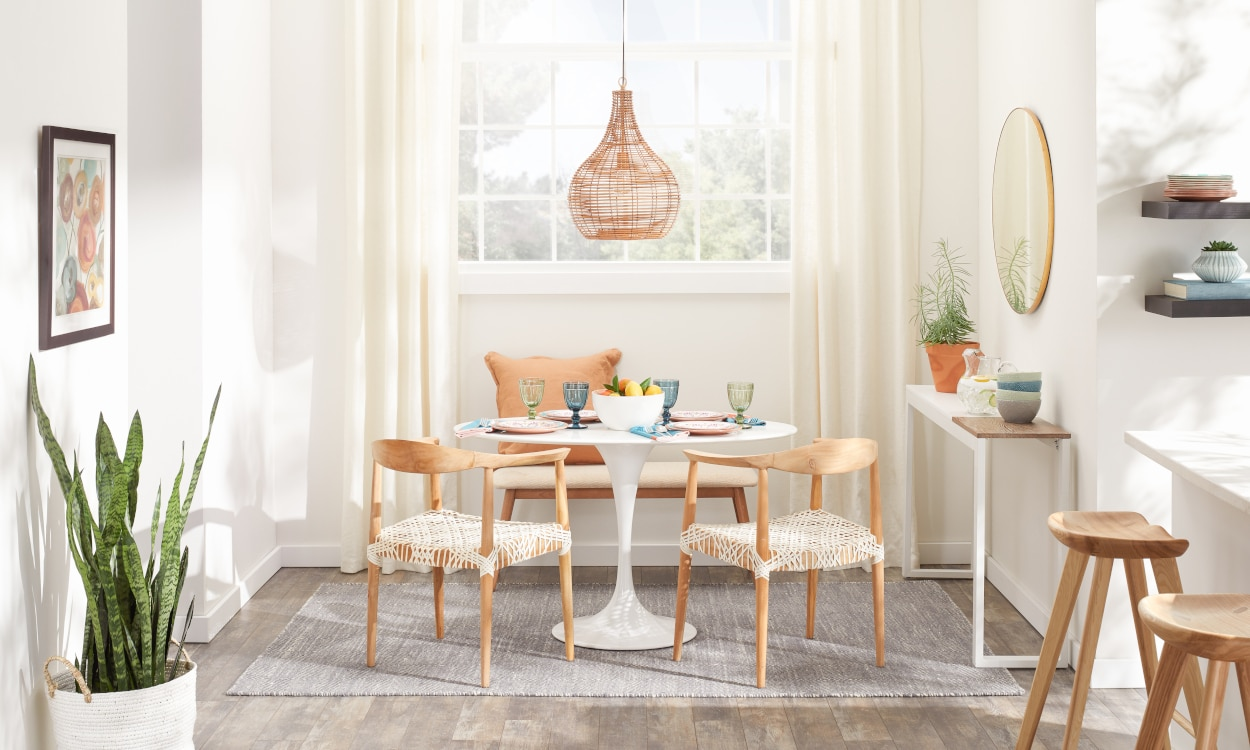 space needed for dining table and chairs