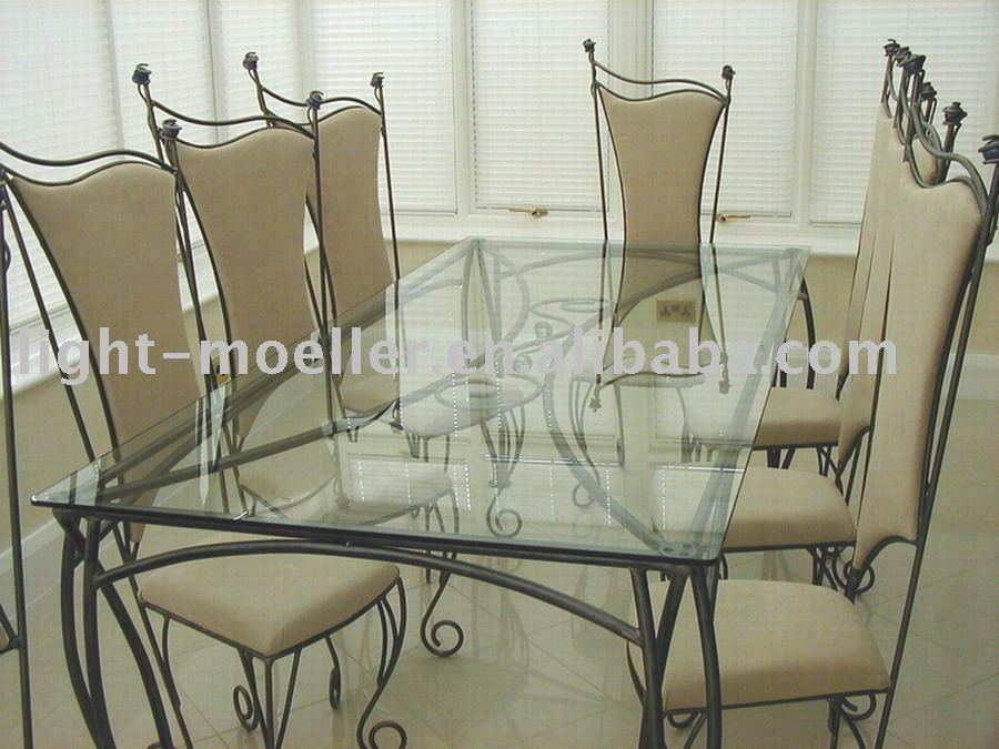 wrought iron and wood dining chairs