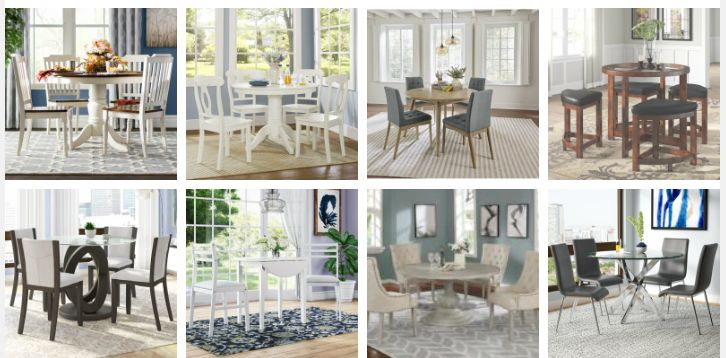 circle dining room table sets