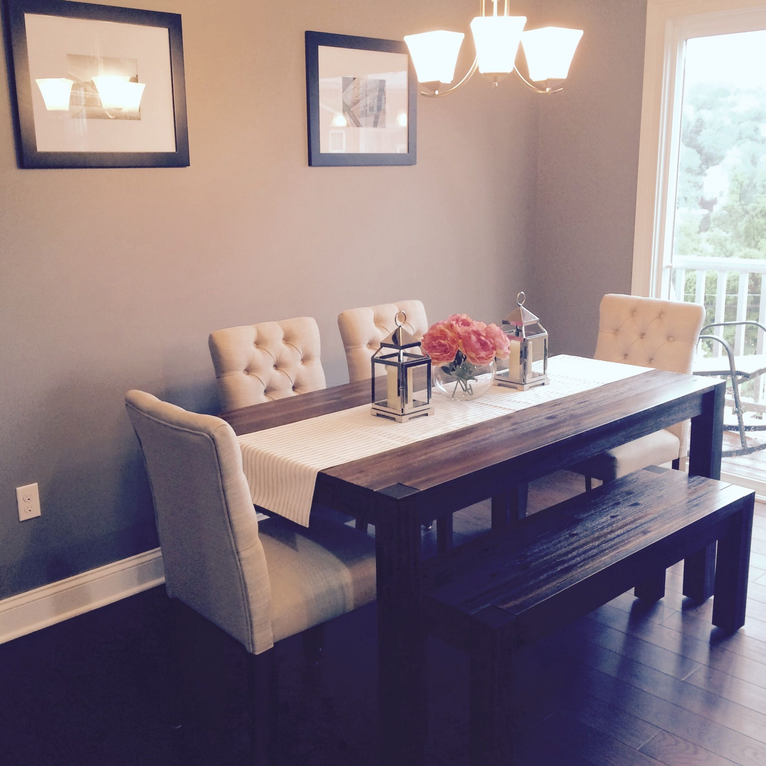 dining room table with fabric chairs