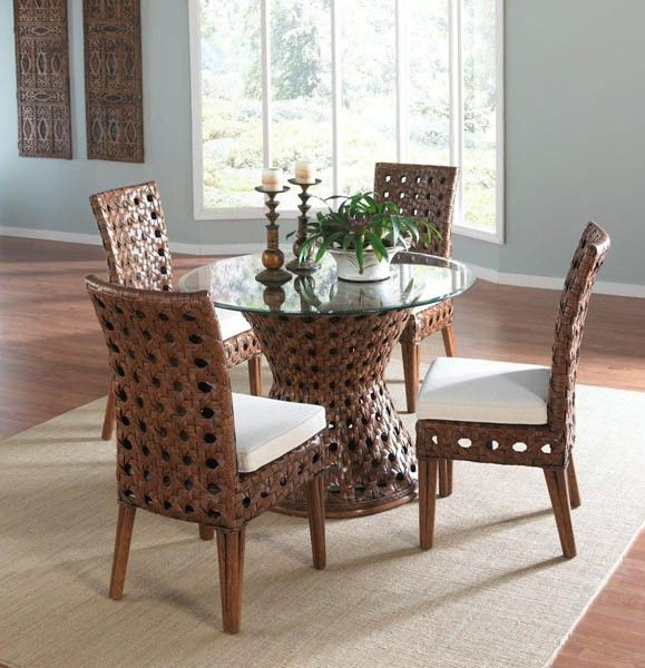dining table with wicker chairs