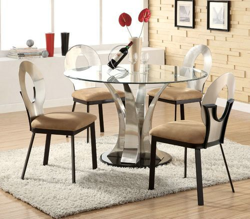 round glass dining table with chairs